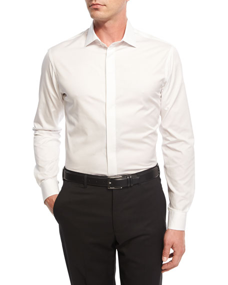 Giorgio Armani Diamond-Textured Formal Shirt, White