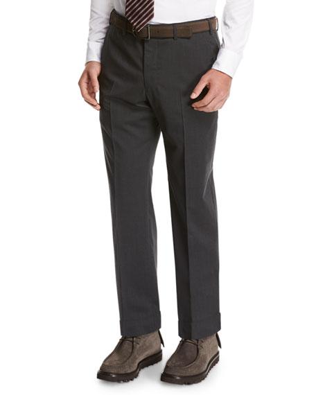 Giorgio Armani Wool Flat-Front Trousers, Gray
