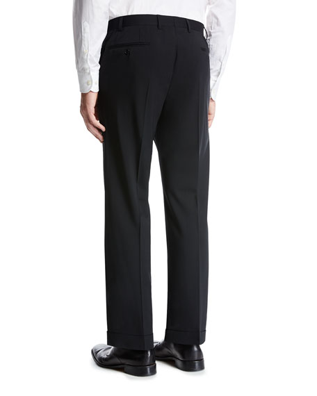 Basic Wool Flat-Front Trousers, Black