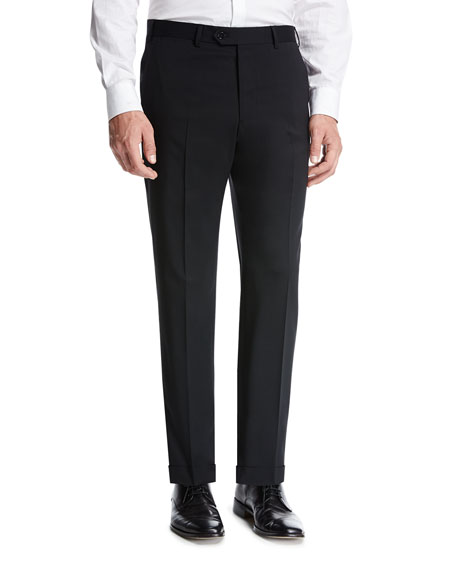 Giorgio Armani Basic Wool Flat-Front Trousers, Black