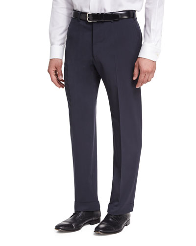Basic Wool Flat-Front Trousers, Navy Blue