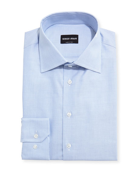 Giorgio Armani Micro-Neat Dress Shirt, Light Blue