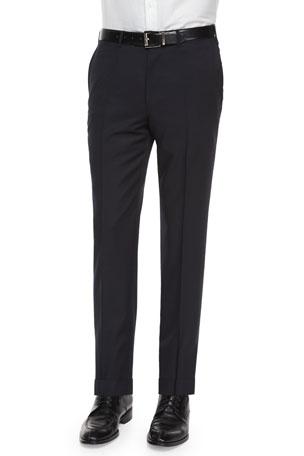 Ermenegildo Zegna Flat-Front Wool Regular Fit Dress Pants, Navy