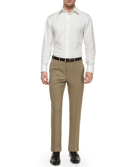 Flat-Front Wool Trousers, Taupe