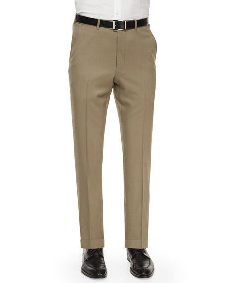 Ermenegildo Zegna Flat-Front Wool Trousers, Taupe