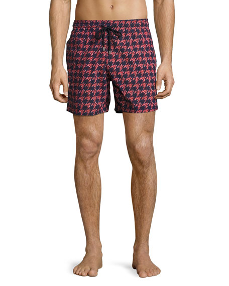 Vilebrequin Moorea Fish Foot Swim Trunks, Navy/Red