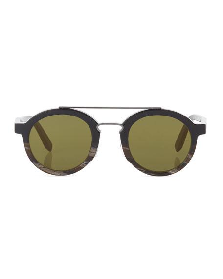 Universal-Fit Classic Logo Round Sunglasses