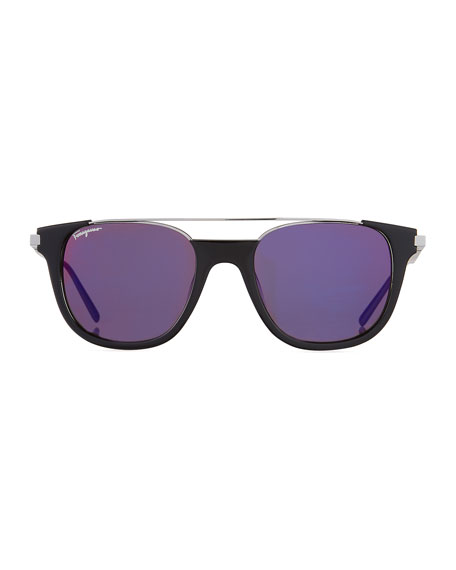 Men's Rectangular Acetate & Metal Brow Bar Sunglasses