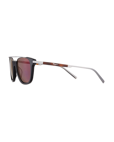 Men's Rectangular Acetate & Metal Brow Bar Sunglasses