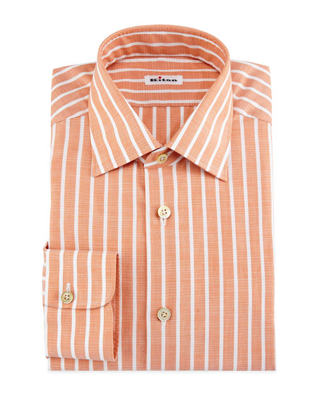 Bold-Stripe Dress Shirt, Tangerine/White