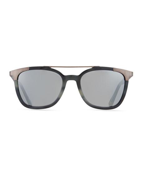 Acetate & Chevron Metal Rectangular Glasses, Blue Havana/Gray