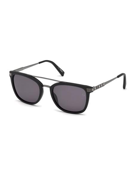 Acetate & Chevron Metal Rectangular Glasses, Matte Black/Gray