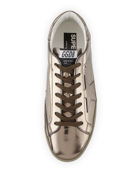 Superstar Men's Metallic Leather Low-Top Sneaker, Gunmetal
