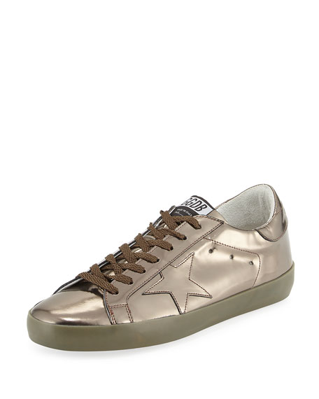 Golden Goose Superstar Men's Metallic Leather Low-Top Sneaker,
