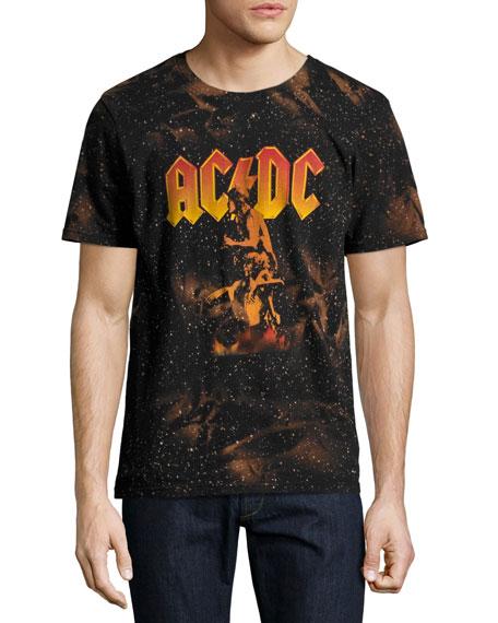 Eleven Paris AC/DC Bonfire T-Shirt with Marbling, Black