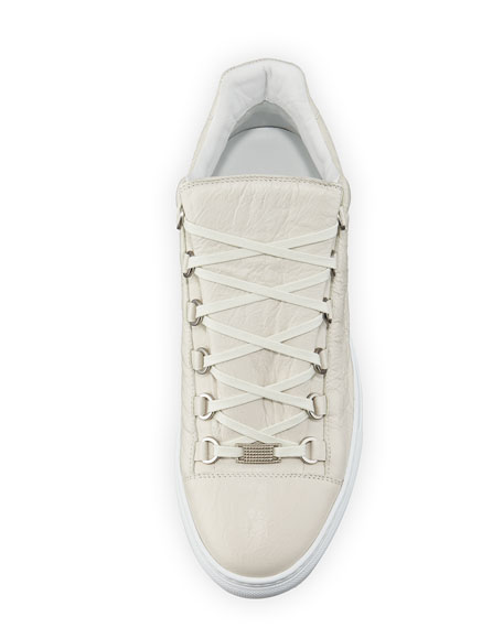 Men's Arena Leather Low-Top Sneaker, White