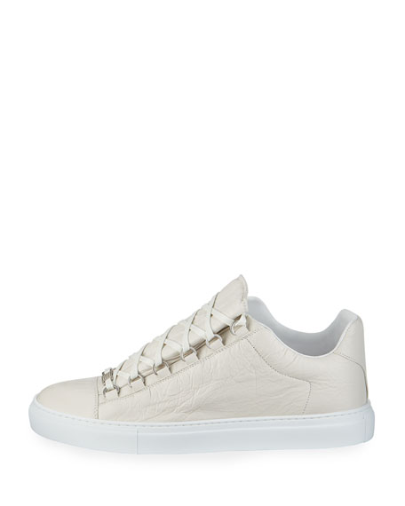 Men's Arena Leather Low-Top Sneakers, White