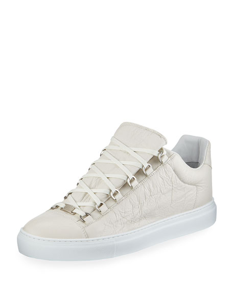 Balenciaga Men's Arena Leather Low-Top Sneakers, White