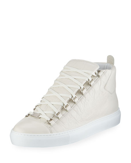 Balenciaga Men's Arena Leather High-Top Sneaker, White