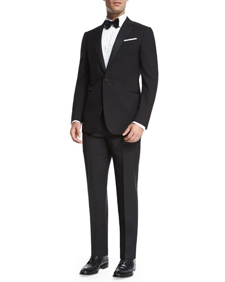 Satin Notch-Lapel Wool Tuxedo, Black