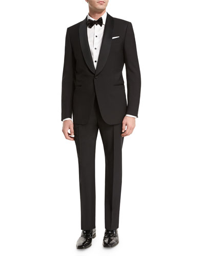 Satin Shawl-Collar Two-Piece Tuxedo Suit, Black