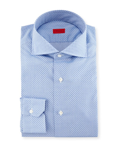 Micro-Print Dress Shirt, French Blue