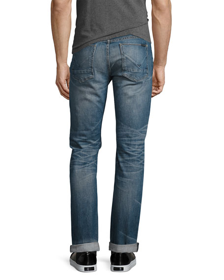 Men's Blake Double-Cuff Slim-Straight Jeans, Blue