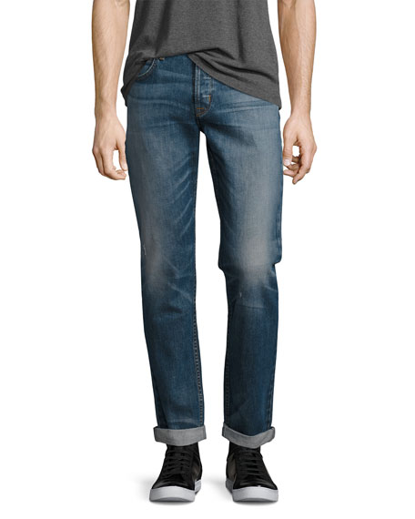 Hudson Blake Double-Cuff Slim-Straight Jeans, Blue