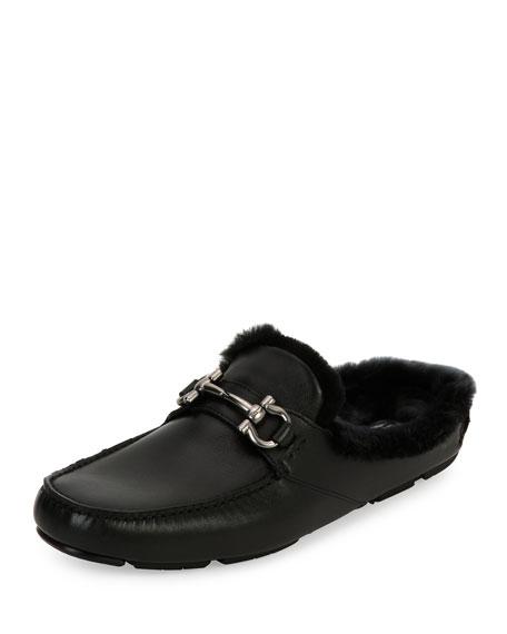 Salvatore Ferragamo Leather Slipper with Shearling Fur Lining,