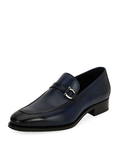Salvatore Ferragamo Tramezza Gancini-Bit Loafer, Blue and