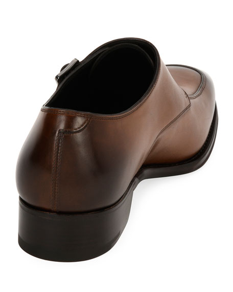 Men's Triple-Monk Leather Shoe, Brown