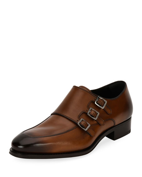 Salvatore Ferragamo Triple-Monk Leather Shoe, Brown