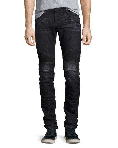 Men's Blinder Biker Skinny Jeans, Faded Black