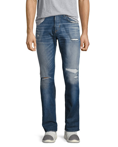 Blake Slim-Straight Distressed Jeans, Blue