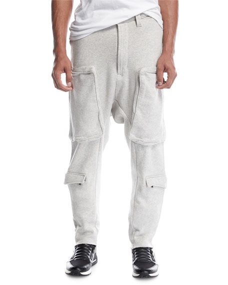Hudson Drop-Inseam Cargo Sweatpants, Heather Gray