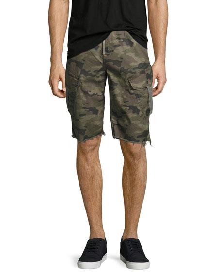 Camouflage Cargo Cutoff Shorts, Green