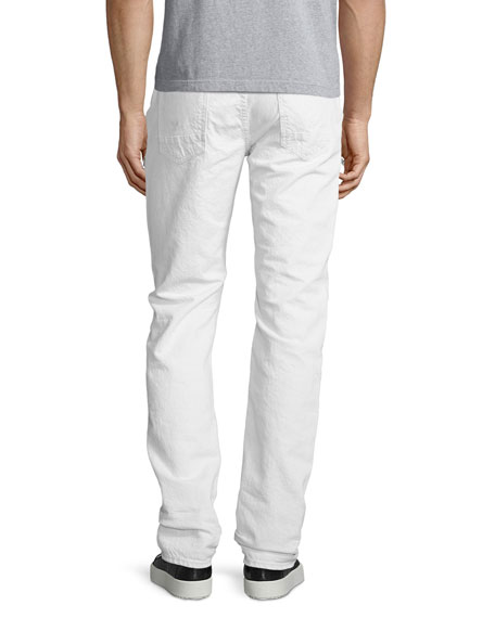 Broderick Slouchy Skinny Jeans, Beige/White