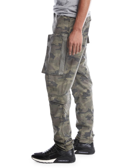 Drop-Inseam Twill Cargo Pants, Green Camo