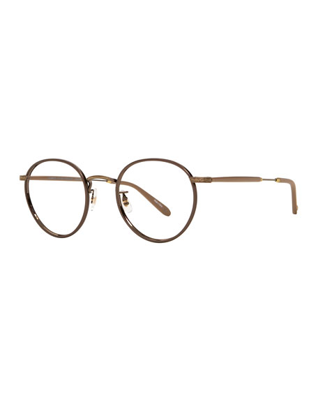 Garrett Leight Wilson Round Glasses with Clip-On Sunglasses,