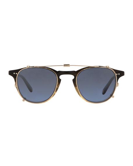 Hampton Square Acetate Optical Frames with Clip-On Sunglasses, Sandalwood Drift