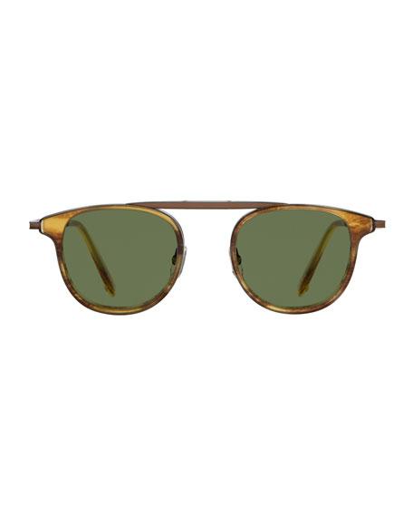 Van Buren Combo 46 Round Aviator Sunglasses, Pinewood Gold/Pure Green