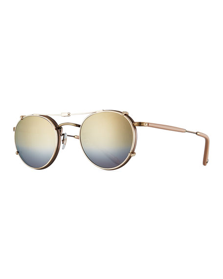 Garrett Leight Wilson Round Sunglasses, Gold/Gold Mirage Mirror