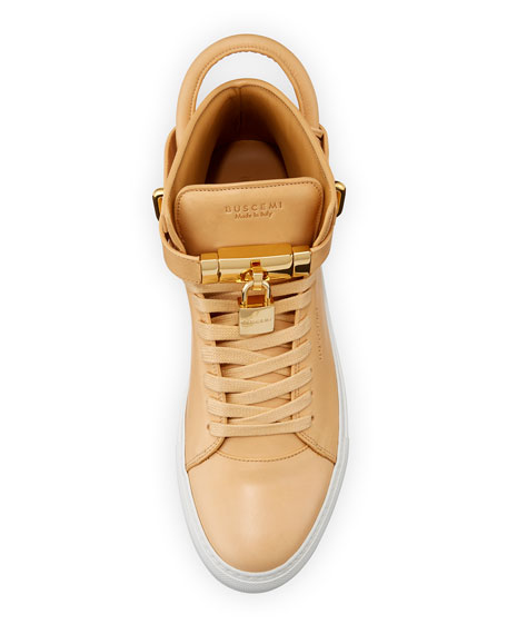 Men's 100mm Leather Mid-Top Sneakers, Natural