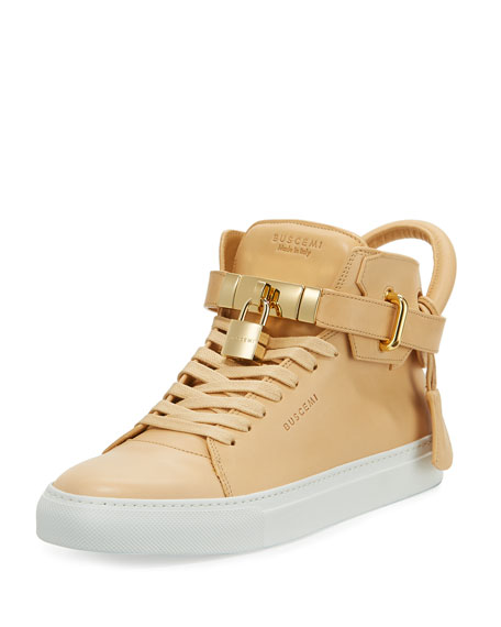Buscemi Men's 100mm Leather Mid-Top Sneakers, Natural