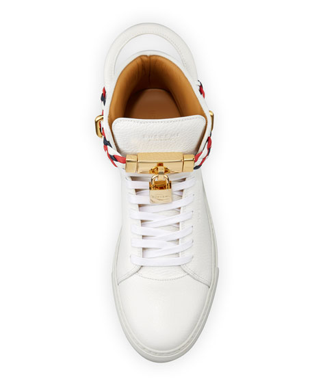 Men's 100mm Leather Mid-Top Sneakers with Woven Strap, White