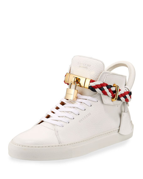 Men's 100mm Leather Mid-Top Sneaker with Woven Strap, White