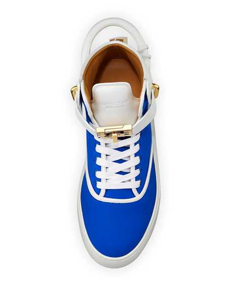 Men's 100mm Mid-Top Sneakers, Neon Blue/White