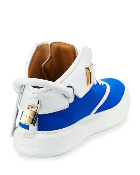 Men's 100mm Mid-Top Sneakers, Neon Blue/White