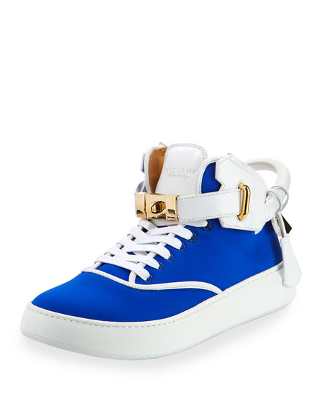 Buscemi Men's 100mm Mid-Top Sneakers, Neon Blue/White