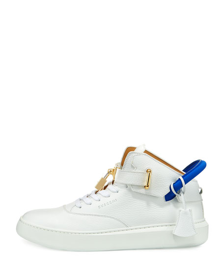 Men's 100mm Leather Mid-Top Sneakers, White Neon/Blue